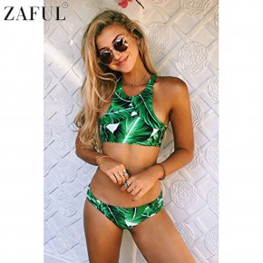 ZAFUL Plus Size 2017 High Neck Leaf Print Stringy Bikini Set Women Summer Beach