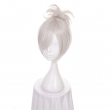 "12"" LOL Riven Silver White Short Synthetic Wig Cosplay Costume Wig With Chip Ponytail Heat Resistance Fiber"