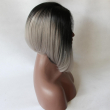 Fashion Grey Synthetic Lace Front Wig Glueless Ombre Natural Black/Silver Grey Short