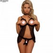 METERNIS sexy lingerie hot exposed breasts sexy costumes lenceria sexy bow erotic