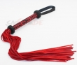 25.5 inch Genuine cow leather flogger whip with abundant tails, black and white