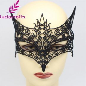 Lucia crafts 1pcs Black Sexy Lady Lace Cutout Eye Mask For Masquerade Party Fanc