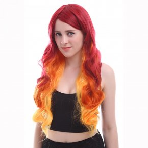 L-email wig Brand Fashion Wigs Long Wave Synthetic Hair Peruca Mixed Blonde Gradient