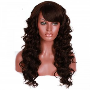 L-email Wig Fashion Women Lady Synthetic Hair Long Dark Brown Curly Wig