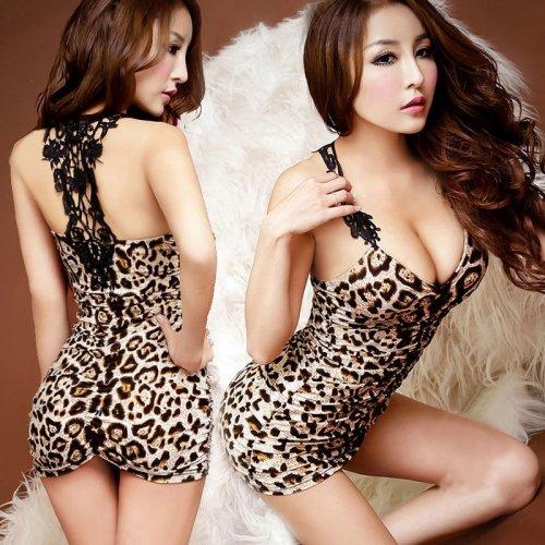 Hot Sexy Lingerie Women Sleepwear Black Leopard Stretch Mini Dress Babydolls Sex Erotic Underwear Nightdress
