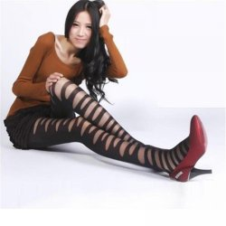 10pcs/lot Lady Sexy Girl Lady Funky Pantyhose Black Ripped Stretch Mock Stocking
