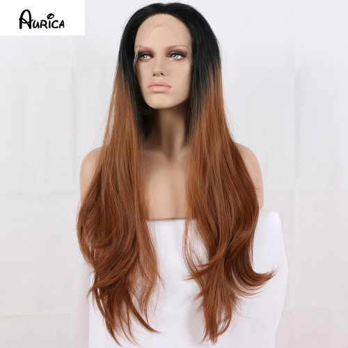 Fashion Ombre Brown Long Bodywave Synthetic Lace Front Wig Fulll Glueless Natural