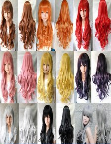 ladies womens wig long anime cosplay wig resistant wavy curly wigs synthetic hair