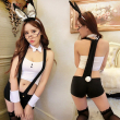 Hot Women Sexy Lingerie Crochet Mesh Hollow Out Baby Doll Bunny Girl Costumes Rabbit Cosplay Erotic Apparel Sexy Adult Uniform