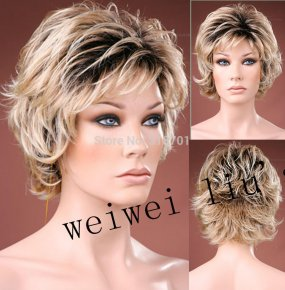 new curly Short Women Wigs Synthetic Hair Wig blonde with dark roots Ombre hair