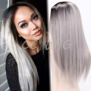 "Long Ombre Grey Wig Synthetic Wigs For Black Women 26""Long Straight Black Ombre"
