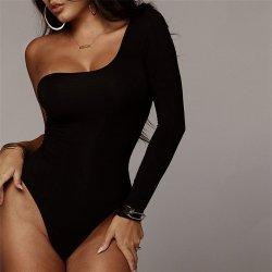 Black One Shoulder Basic Bodysuit Rib Knit Elegant Women Sexy Autumn Bodysuits 2019 Fashion Long Sleeve Skinny Bodysuit