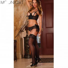 MOONIGHT Hot Sexy Lace Open Bra Sleepwear Sexy Underwear with Bow Lingerie G-String