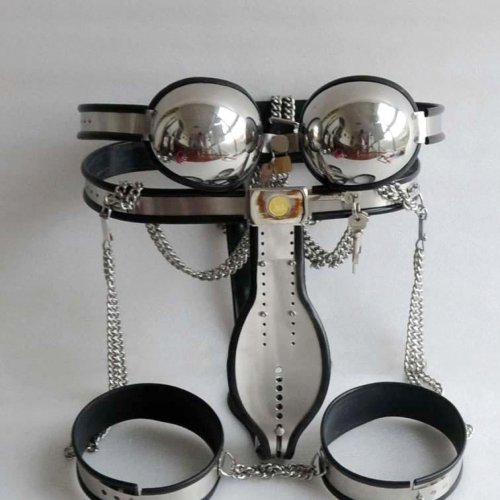 3pcs/set stainless steel male chastity belt thigh ring bra bondage kit with catheter