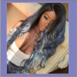 Long Dark Blue Wig Three Tone Natural Black Ombre Blue To Blonde Tips Synthetic