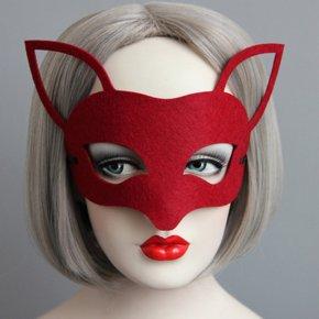 New Halloween Xmas Woman Sexy Fox Felt Mask Vintage Black Face Mask Fashion Cospla