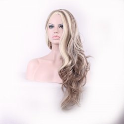 70cm Blonde Ombre Wig Long big wave Cheap Women Synthetic Wig Fashion Natural Hair
