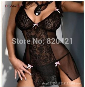 Fcare sexy lingerie M-4XL,M,XL,XXXL black transparent lace dress g string Sex