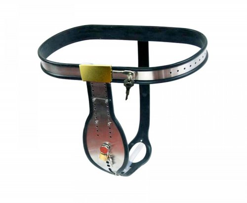 Adjustable Stainless Steel T-shaped male Chastity Belt With Removable anal Plug