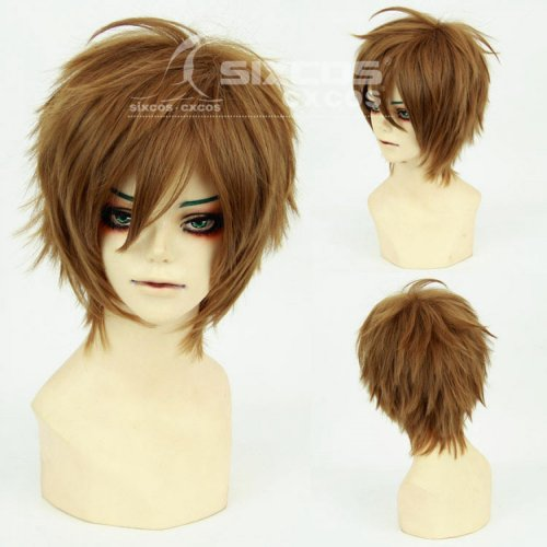 Full Lace Human False Wig Women Men 28cm Light Brown Short Hair Synthetic Cospla