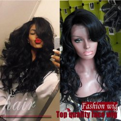 2017 Hot Style Long Body Wave Synthetic Lace Front Wig With Bangs Color #1B 180C