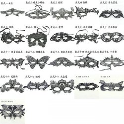 (100 pieces/lot) New black color half face 21 styles available women\'s sexy masquera