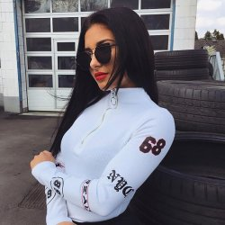 Turtleneck Long Sleeve Sexy Black Bodysuit Women Zipper Bodycon Skinny Printed Warm Romper Elegant Autumn Jumpsuit