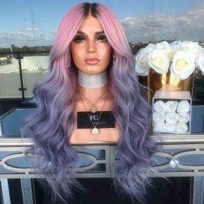 Classy 24 Inch long Wavy Style Lace Front 100% Remy Hair Ombre Wigs