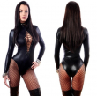 Women Sexy Black Leather Lingerie Bodysuits Erotic Leotard Costumes Rubber Flexible Hot Sexy Latex Catsuit Catwomen Costume THO