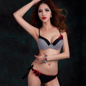 2017 Hot sale Striped Bikini set Black Swimsuit Women Sexy Flower Biquini Bandage