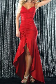 red backless dress for the reception