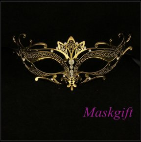 2016 Venetian Masks Sexy Gold Metal Mask With Clear Rhin Laser Cut Mask ME001-GD