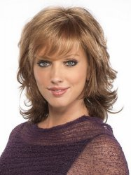Hot Sale Resistant Synthetic Brown Medium Length Wigs For Black Women With Bangs