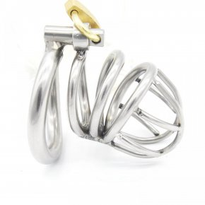 Stainless steel male chastity belt cock cage with arc-shaped penis ring chastit