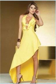 yellow dew leg cocktail party dress