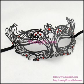 High Quality Halloween Mask (48 pcs/lot) Black Sexy Mask Red Crystals Sexy Masquera
