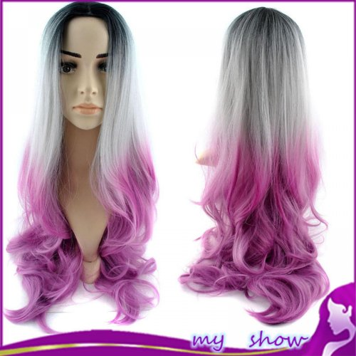 "30""80cm Fashionable Full Head Grey Ombre Wig Woman Long Wavy Gradient 3 Pink Colored"
