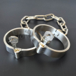 Stainless Steel Lockable Neck Collar Hand Ankle Cuffs Slave BDSM Tool Bondage Handcuffs Leg Irons Restraints Sex Toy For Couples