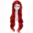 L-email Women Fashion Cosplay Wigs Synthetic Hair Long Wave Brown Red Little Mermaid