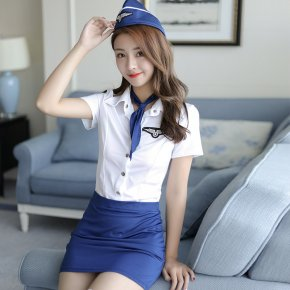 Pilot Costume Erotic Lingerie Temptation Club sex Pilot Costumes Women Flight Attendant Uniform