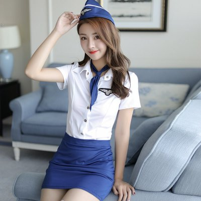 Pilot Costume Erotic Lingerie Temptation Club sex Pilot Costumes Women Flight Attendant Uniform