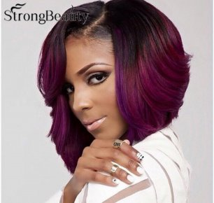 Ombre Purple Wavy Short Bob Synthetic Lace Front Wig Natural Black/Purple Resistan