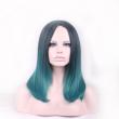 harajuku hair woman wig cap natural medium length wigs straight black green wig