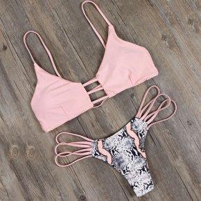 Strappy Bandage Snakeskin Pattern Bralette Swimsuit Women Swimwear Push Up Bikini