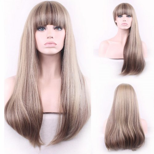 Resistant Wig Natural Long Straight Neat Bang Synthetic Fiber Front Wigs For Women