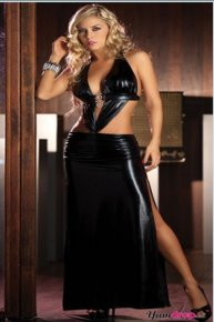black leather cocktail party dress