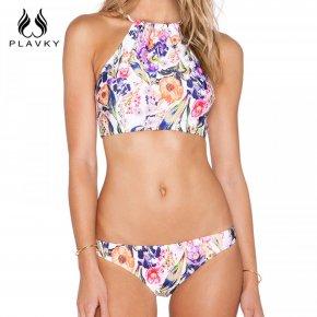 2017 Sexy High Neck Bikini Women Retro Floral Swimsuit Halter Crop Top Split Swimwea