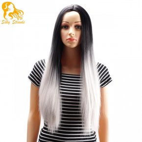 Ombre Two tone Synthetic Grey Hair Wigs Natural Cheap Long Straight Resistant Silve