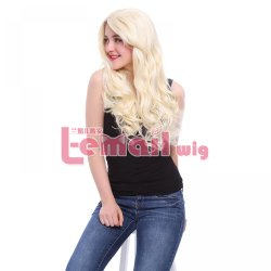 Fashion 65cm long Women Wigs Beige wave curly synthetic wigs lace front wig natural