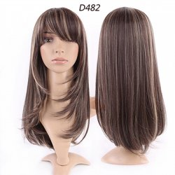 Top Quality Women Girls Natural Synthetic Hair Wig Long Ombre Black Brown Blonde